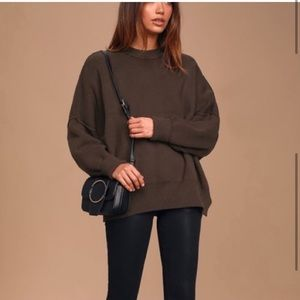 Free people easy street tunic sweater brown M